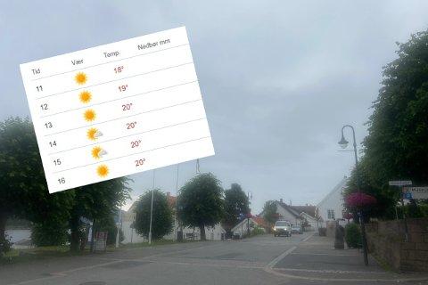 Sola som ble meldt av meteorologene har foreløpig ikke vist seg fram, tirsdag.
