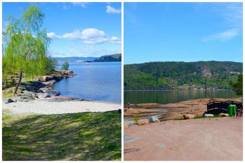 Tangen fjordpark til venstre, Skjæra til høyre.