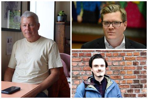 Til venstre fastlege Tadeusz Tomala. Øverst til høyre: Eivind Knudsen (Ap), nederst til høyre: Herman Ekle Lund (V).
