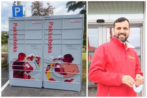 Pakkeboksene i sentrum er Postens nye satsing. Abdul Mohammad hos Coop Extra på Skjønheim, frykter ikke konkurransen.