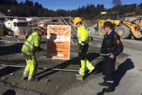 Entreprenøren Implenia tok denne uken i bruk kunstig DNA-merking på sitt utstyr ved sine arbeidsplasser langs E39-traseen som bygges i Bergen i disse dager. (Foto: Tryg/ANB)