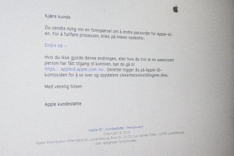Svindeleposten er lik den som kjem frå Apple. Men det er ting som skil den frå den ekte varen.