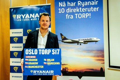 NY SJEF: Nikolaj K. Thomsen, ny markedssjef i Skandinavia for Ryanair, gleder seg over å informere om de nye sommerrutene.