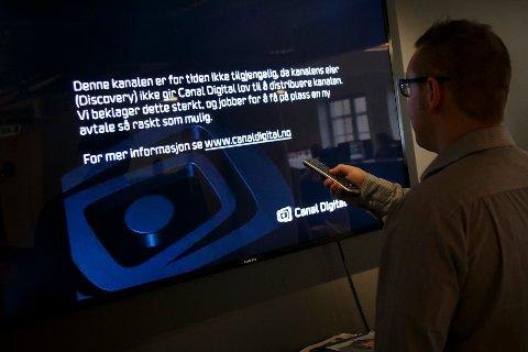 OSLO  20160201. Slik ser TV skjermen til en million norske husstander, med tilsammen 2,8 millioner seere, har mistet 13 kanaler etter at Telenor og Discovery Networks ikke ble enige om distribusjon av TVNorge-kanalene.  Foto: Heiko Junge / NTB scanpix
