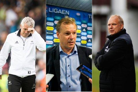 UENIGE: Kåre Ingebrigtsen (til venstre) og Dag-Eilev Fagermo (til høyre) er ikke enig i Kjetil Rekdal (i midten) sitt utspill om kunstgress i norsk fotball. (NTB scanpix)