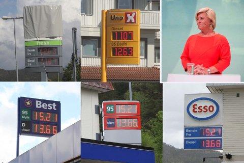 Finansminister Siv Jensen (Frp) øker avgiftene på drivstoff kraftig.