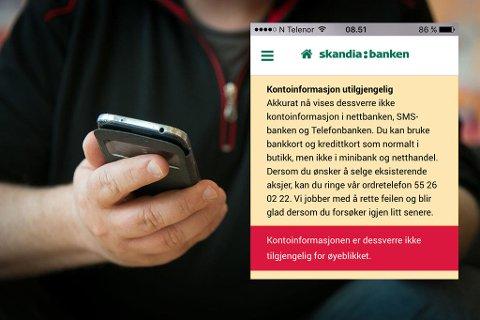 BANKPROBLEMER: Skandiabanken er blant bankene som sliter fredag. Dette er informasjonen som møter nettkundene fredag morgen. (Nettavisen)