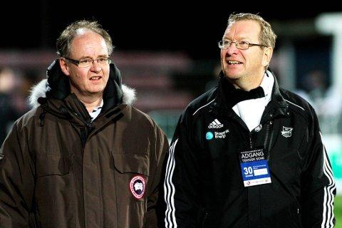 FOTBALLINTERESSERT: Christen Knudsen, her sammen med styreleder i Odd Trond Haukvik