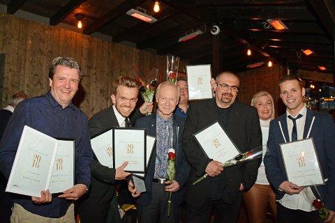 Noen vinnere: Ikke alle var til stede. Fredrik Pedersen, Fredrik Nordahl, Helge Ottesen, Jarle Pedersen og Stian Wåsjø Simonsen.foto: roar hushagen