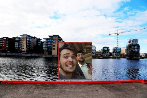 HELTENE: Tommy og Mahmod tok dette bildet sammen (innfelt) natt til søndag, etter at de hadde hjulpet en kvinne opp av vannet i Tønsberg. (Foto: Erik Munsterhjelm)