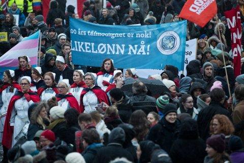 For hver hundrelapp en mann tjener i Norge, tjener kvinner 87 kroner. Foto: Berit Roald, NTB scanpix/ANB