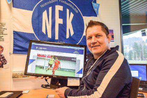 ER HAN POSITIV?: Spørreundersøkelsen ber sponsorer svare på om markedssjef i Notodden Fotballklubb, Arve Bjerkan, er et positivt forbilde.