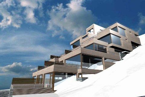 FIN UTSIKT: Den attraktive tomten på Gaustablikk er nå solgt. Slik ser KB arkitekter for seg at tomta kan utnyttes. Foto: Eiendomsmegler 1 næringsmegling/KB arkitekter AS