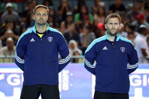 TIL VM: Håvard Kleven og Skarphedins Lars Jørum skal dømme håndball-VM for menn neste år.