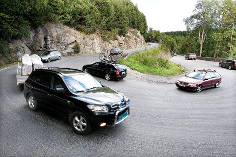 BREKKASVINGEN: Når nye Rv 36 åpner i november, foreslår Statens vegvesen at eksisterende riksveg fra kryss ved Åfoss og fram til dagens kryss ved Klovholtvegen ved Norsjø omklassifiseres til kommunal veg.