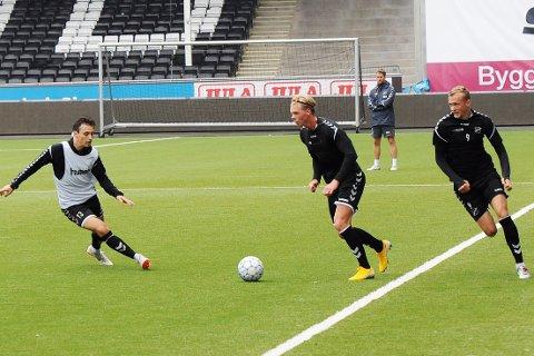 I GANG: André Sødlund trente med Odd for første gang torsdag. Han kan gå rett inn og erstatte en suspendert Elba Rashani på venstrekanten mot Bodø/Glimt mandag.