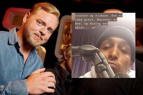 TRUSLER: JOnis Josef slettet en innlegg, etter at det kom trusler mot både han selv og Tore Sagen. Foto: (Faksimile/NRK/JOnis Josef)