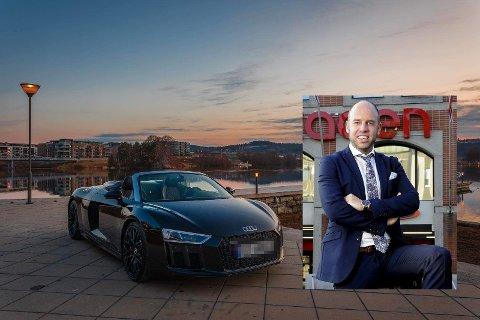 SPREK BRUKTBIL: Emil Eriksrød skal etter det TA erfarer gå over til elbil. Nå er hans 2017-modell Audi R8 til salgs. Foto: Finn.no (Ørjan Madsen innfelt foto)