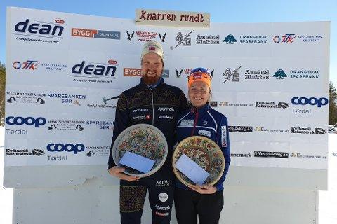 DE TO VINNERNE: Runar Skaug Mathisen og Marthe Bjørnsgaard vant herre- og kvinneklassen.