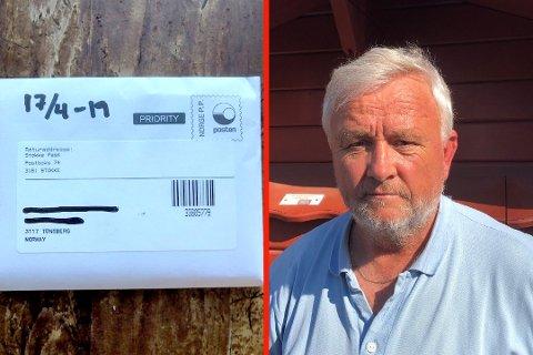 """IRRITERT: Kona til Terje Haugan fikk over en måned etter at politiet lovte å rydde opp et pass i postkassen med returadresse """"Stokke Pass"""". Foto: Privat"""