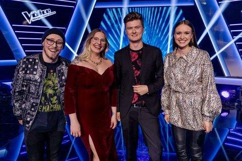 The Voice finalister: Oskar Øiestad, Steffi Buie, Edward Mustad og Maria Halsne. Foto: TV2