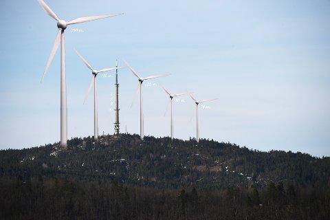 IKKE PÅ VEALØS: Det er ikke planlagt noen utbygging på Vealøs, men denne illustrasjonen viser størrelsen på de aktuelle vindmøllene. Illustrasjon: DNT