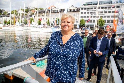GUDMOR: Erna Solberg kommer til Sandefjord for å døpe verdens største plug-in hybridskip, Color Hybrid. Foto: Håkon Mosvold Larsen / NTB scanpix