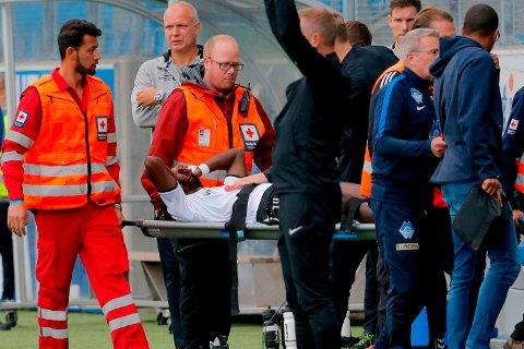 SKADET: Moussa Njie får ikke flere Odd-kamper i denne omgang.  Foto: Svein Ove Ekornesvåg / NTB scanpix