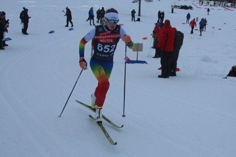 GULLJENTE: Ingerid Vadder (J-17) fra Morgedal IL skøytet inn til sprintseier og gullmedalje i Falun under nordisk juniorlandskamp for 17- og 18-åringer.