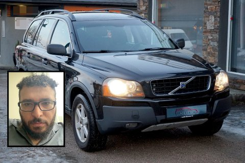 HAR ALDRI SETT BILEN: Ammar Abdelal (innfelt bilde) kjøpte denne brukte Volvoen av Lunde Bruktbilsenter AS i januar, men han fikk aldri bilen, siden girkassa røyk før bilen var levert. Nå sliter han med å få pengene tilbake.