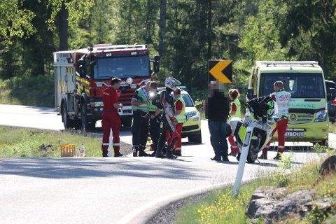 NY DØDSULYKKE: En mann fra Tønsberg omkom i en ulykke mellom Larvik og Siljan søndag ettermiddag. Det var den femte dødsulykken med MC i distriktet på bare litt over to uker.