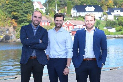 JAKTER SALG: Andreas Hoppestad, Fredrik Rønning og Marius Lundeberg Enger bruker fotballerfaringen i jobbene sine som eiendomsmeglere.