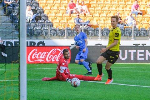 GIR SEG: Et av Martin Brekkes beste NFK-minner var da han scoret i 3-0-seieren over Start på Sør arena.  Foto: Tor Erik Schrøder / NTB