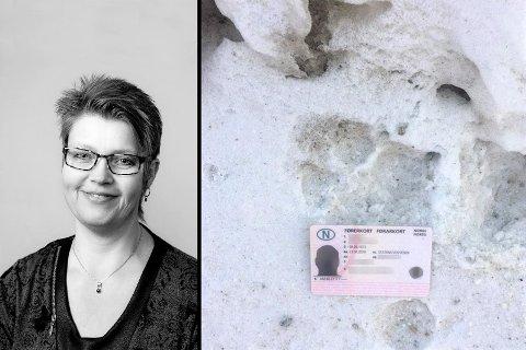 ULV?: Barbro Stordalen fra Austbygde trodde det hadde travet en ulv mellom hennes og naboens gård. Rovviltkontakt Øyvind Fosse tok turen og kikka godt på sporene før han kom til en konklusjon.