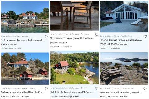 POPULÆR: Det er tydelig marked for å leie ut bolig og hytter i ferien. Prisene varierier fra 3-4000 kroner i uka til 70 000 kroner i uka.