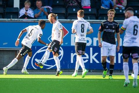 Skien 20210624.  Mushaga Bakenga scorer for Odd i eliteseriekampen i fotball mellom Odd og Tromsø på Skagerak arena. Foto: Trond Reidar Teigen / NTB