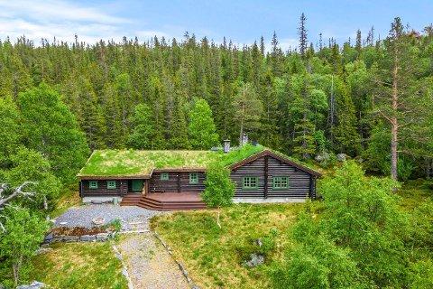 GAUSTA: Denne store tømmerhytta i Brendstaul ligger ute til 8,9 millioner kroner ( foto Sem&Johnsen).