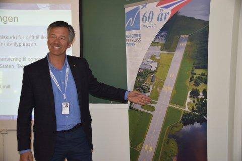 MÅL 2020: Markeds- og utviklingssjef Helge Lolland ved Notodden lufthavn AS, Helge Lolland, jobber videre med planene om å få sertifisert flyplassen til å kunne ta ned fly med inntil 100 passasjerer.