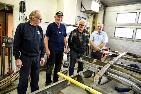 Notodden Kjøretøyhistoriske Forening. Knut Trosthoel, Torgeir Haugen, Olav Seland og Frank Østdahl.