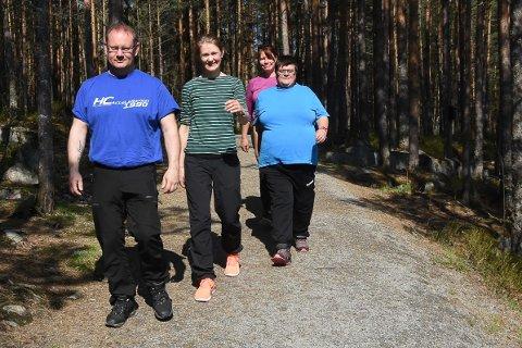 UT PÅ TUR: Frisklivssentralen inviterer til en aldri så liten aktivitetsdag for alle som har lyst fredag 10. mai. Ole Borgar Nykås, Eivor Bjerke, Toril Aasmundstad og Inger-Lill Thorbjørnsen håper mange kommer.