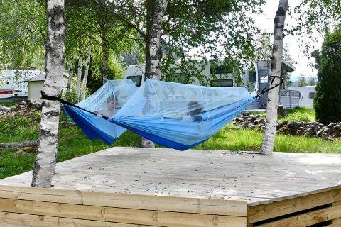 I KØYA: Ingenting er som å ligge under åpen himmel og se på stjernene gjennom myggnettingen. Bøen camping har tilpasset seg hengekøyetrenden og laget en egen plass for det på campingplassen.
