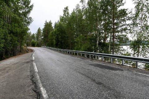 STENGES UTE: Ekteparet Eva B. og Gunleik Bergelien bor omtrent midt på Follsjøen, og det nye autovernet stenger for stien til båtplassen de har hatt i flere år. Bildet er ikke fra det konkrete stedet, men viser bare det nye autovernet langs fylkesveien mellom Notodden og Bolkesjø.