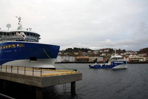 «Gåsø Viking» og «Frøy Server» skal døpes samtidig i helga. Foto: Stein Åge Gresset/Møre Maritime
