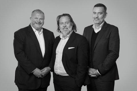 Bjarne Håkon Hansen (fra venstre), Arve Øverland og Jan-Erik Larsen i Kruse Larsen AS.