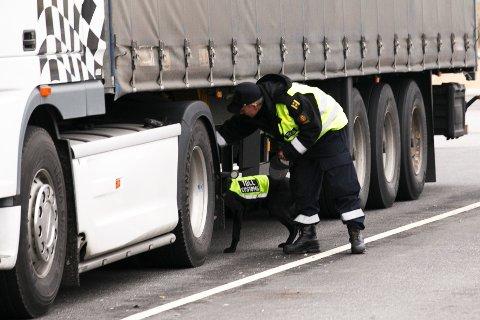 En toller med en av sine firbeinte medarbeidere inspiserer et vogntog på oppstillingsplassen på Tollvesenets grensestasjon på Svinesund.