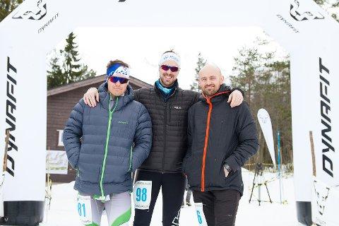 Lars Grøtting (t.v.), Andreas Engvig og Einar Engvig gjorde alle brukbare løp, men Einar måte betale ...