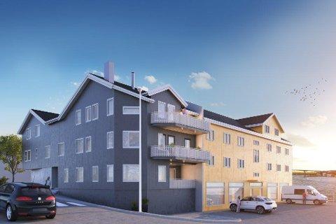 Fasade mot nordøst i Nergata 2. Nybygget er i samme stil som Elgsaasgården (gul). Illustrasjon: Vestavind Hus AS.