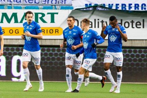 Leke James scoret sitt første Molde-mål i søndagens toppoppgjør mot Haugesund.