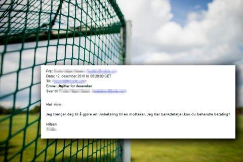 Minst to nordmørske idrettslag har fått eposter som forsøker å lure klubbens kasserer til å utbetale penger, ved å utgi seg for å være lederen i idrettslaget. Eposten er sladdet fordi idrettslederne TK har snakket med ikke ønsker å stå fram med navn, men ønsker å advare andre klubber.