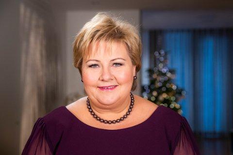 Statsminister Erna Solberg (H), nyttårstalen 2018 i statsministerboligen.